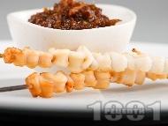 Шишчета от калмари със сос териаки